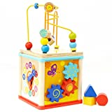 Wooden Activity Center Baby Activity Cube Wooden Bead Maze 5 in 1 Learning Toys