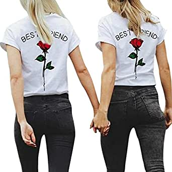 ec6779166235f1 Beachten Sie den folgenden verfügbaren Artikel. Friends Shirt Damen Shirts  Sommer Süß Partnerlook Freund Shirt Frauen Oberteile Tops T-Shirt mit ...
