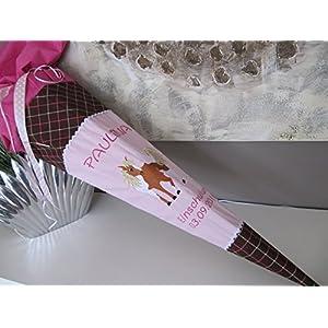 #55 Pferd rosa-braun-pink Schultüte Stoff + Papprohling + als Kissen verwendbar