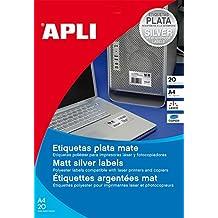 Apli 10071 - Bolsas 20 hojas etiquetas poliéster, 210x297