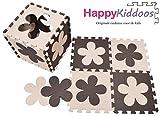 Happykiddoos Puzzlespielmatte 10 Foam Matte. Spielmatte Schaumstoff Verriegelung Puzzle Kinderteppich. Jede Matte hat eine Größe von 30x30cm und ist 1 cm dick (Blume, Braun/Beige)