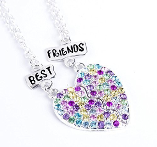 BEST FRIENDS BFF CRYSTAL HEART CHARM SILVER TONE