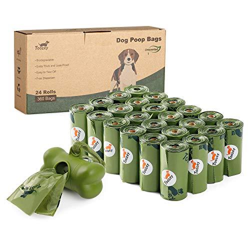 Toozey 360 Hundekotbeutel Biologisch Abbaubar mit Beutelspender, Auslaufsicher & Ohne Duft, Extra Dick und Groß Hundetüten, Leicht Abzureißen, 24 Rollen
