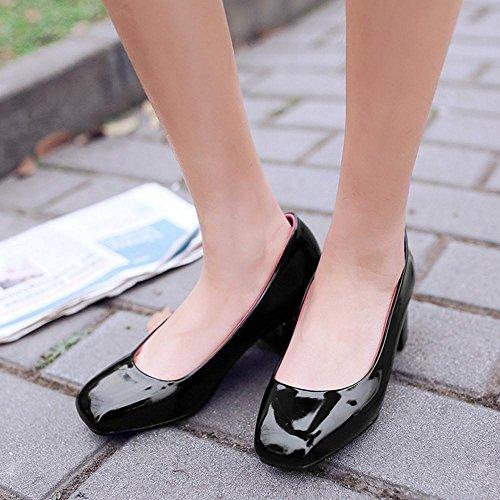 TAOFFEN Femmes Chaussures Elegant Bloc Talons Moyen A Enfiler Escarpins Noir