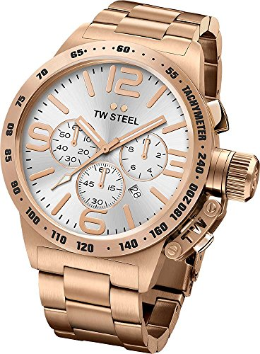 Tw Steel CB164 Men's Stainless Steel Rose Gold Bracelet Band Silver Dial Watch