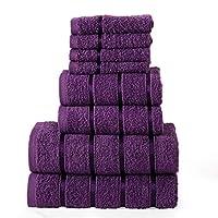 100% Cotton Towels (8-Piece Set) Soft, Absorbent | 4 Face 2 Hand 2 Bath Towel Men, Women, Kids | Machine Washable | (Purple)