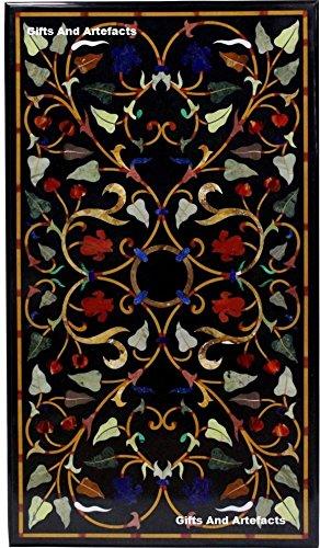 106,7x 61cm schwarz Marmor Semi Precious Stone Inlay Konferenz Tisch Top Floral Design