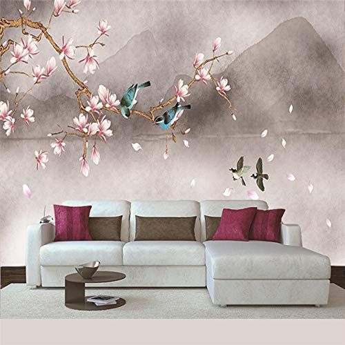 Seidentuch Wandbild Blumen und Vögel 3D Fototapete Hd-Kunst Drucken Fresco Foto Fernseher Hintergrund Seide Wandmalerei, Tapeten Für Wohnzimmer Schlafzimmer Home Decor 400x280cm -