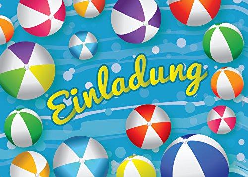 12 Einladungskarten zum Kindergeburtstag Schwimmbad Party Wasserball / Pool Party / schöne und bunte Einladungen