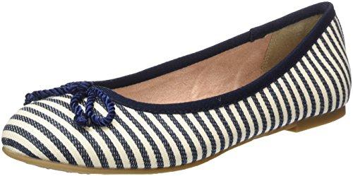 Tamaris Damen 22142 Geschlossene Ballerinas, Blau (Navy Stripes), 36 EU -