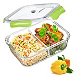 Contenitori per Alimenti, vetro Lunch Box ermetico con 2-scomparti, 100% privo di BPA, a prova di perdita, adatto congelatore, forno, microonde e Lavastoviglie, ideali per la conservazione di alimenti (1,04 Liter, Rettangolo, Verde)