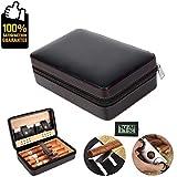COMMODA Portable Echtes Leder Zeder Zigarre Reisetasche Zeder Humidor mit Cutter Rack Set Holzkiste für 4 Zigarren (Schwarz)