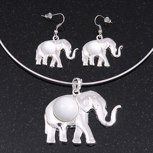 Bañado en plata para cable Flex 'elefante' collar con colgante de y Juego de pendientes de Drop con Blanco - ajustable