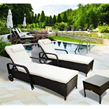 Year-end Sale Outsunny Garden Rattan Furniture 3 PC Sun Lounger Recliner Bed Chair Set with Side Table Patio Outdoor Wicker Adjustable Head Height