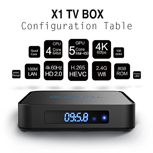 Globmall Android 6.0 TV Box with Mini Wireless Qwerty Keyboard, 2017 Model X1 4K Android TV Box DDR4 1GB RAM 8GB ROM and Bluetooth 4.0 with Quad Core CPU 64 Bits AmlogicS905X