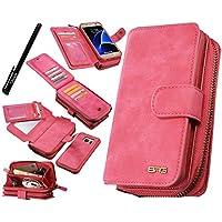 Custodia Galaxy S7, Urvoix (TM) Premium in pelle a portafoglio con zip multifunzionale borsa custodia Flip Magnetica rimovibile, con porta carte, per Samsung Galaxy S7G930