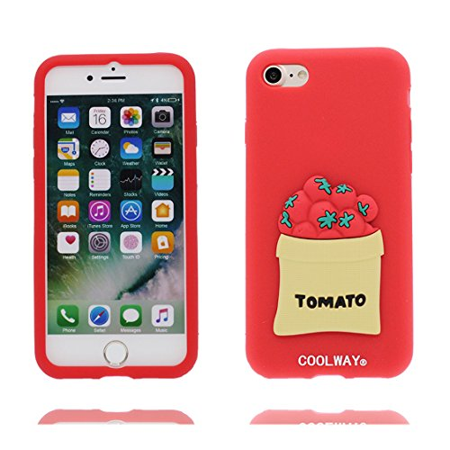 Copertura iPhone 6S Plus, Bumper TPU Gel protettivo in gomma morbida Case Cover Copertura per iPhone 6 Plus/6s Plus 5.5 , Cartoon verde Cactus Love rosso 1
