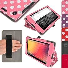 igadgitz Ergo-Portfolio - Funda para tablet Google Nexus 7 (soporte de sobremesa, correa de mano), rosa y blanco