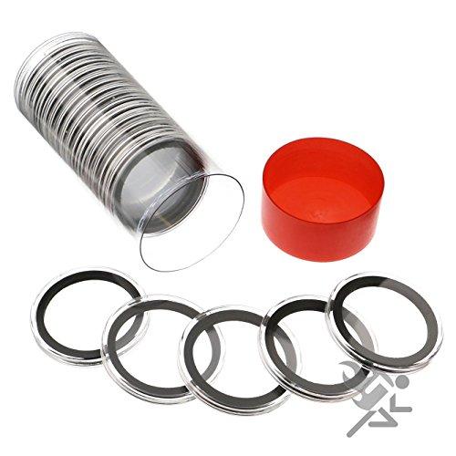 Silber 20 Dollar (Rote Kapsel Rohr und 20 Air-Tite 39mm Münzkapseln für 1 Unze Silber Runds)