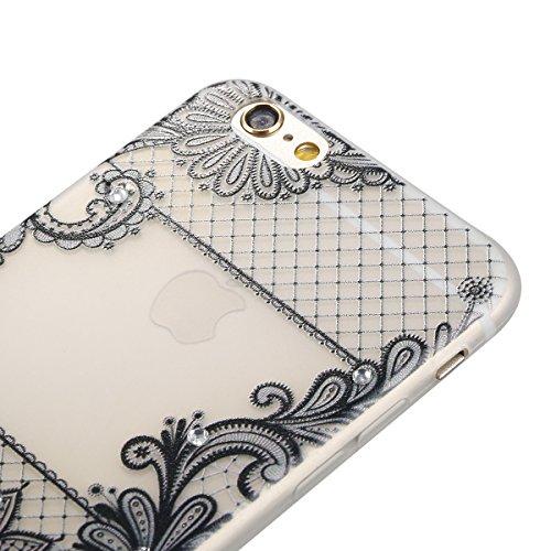 "Apple iPhone 6 Plus/6S Plus 5.5"" Case Silicone - Felfy Ultrathin Slim Soft Gel Mode Silicone Lichtdurchlässig TPU Peinture Rose Motif Fleur de Diamant de Bling Glitter étincelle Strass Cristal Creativ #24"