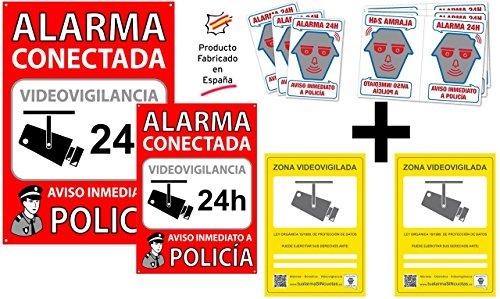 tualarmasincuotas.es ★★★★★ Pack o Conjunto de 2 Carteles Disuasorios + 6 pegatinas de seguridad + 2 Pegatinas Zona Videovigilada para interior/exterior ★★★★★