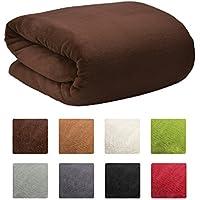 Beautissu XXL Manta Aurelia de sofá y cama suave cálida 220x240cm Microfibra forro polar Coral ÖKO-TEX Marrón oscuro