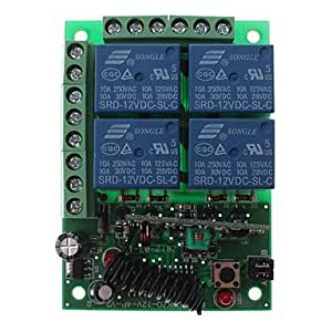 MTDZ008 RF 4-Channel Wireless Remote Controller Switch Module (Green, Black)