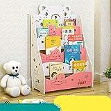 Genven Vintage Displayregal Holz weiß und grün rosa Kinder Bücherregal einfache Kombination Baby Bücherregal Kindergarten Cartoon Bücher Display-Ständer (Farbe: Pink) (Farbe : Pink)