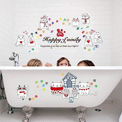 LZYZOY 3D Wandaufkleber Cartoon Happy Love Cat Wandaufkleber DIY Wohnzimmer Schlafzimmer Aufkleber Für Wohnkultur Aufkleber