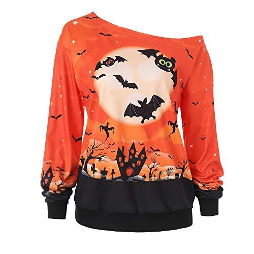 Damen Halloween Hemd Lange Hülsen Spitze Patchwork Kürbis Bluse für Halloween Party Kostüm Von Allence -