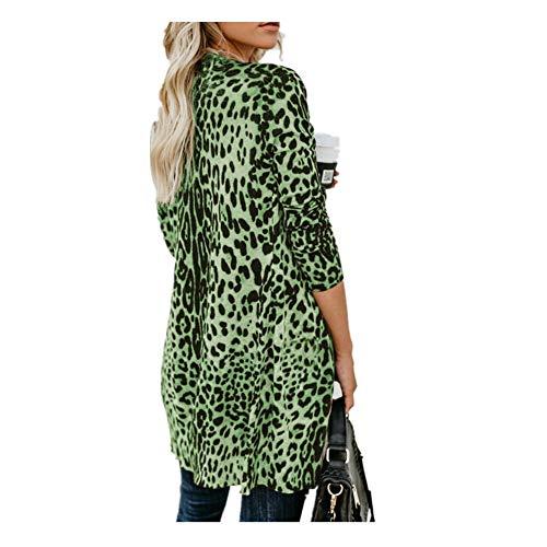 iHENGH Damen Herbst Winter Bequem Lässig Mode Frauen Langarm Leopard Print Mode Mantel Blusen T Shirt Tank Tops(L,Grün) (Leopard Print Beanie)
