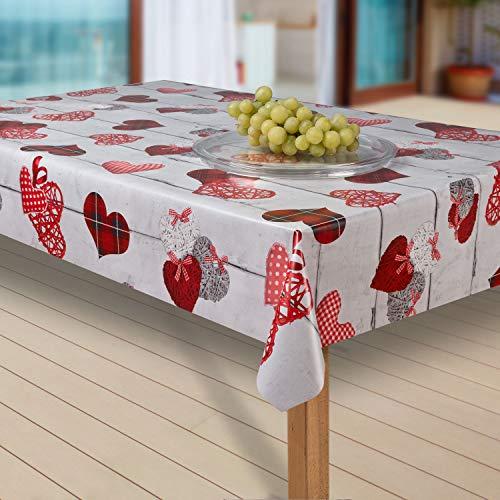 laro Wachstuch-Tischdecke Abwaschbar Garten-Tischdecke Wachstischdecke PVC Plastik-Tischdecken Eckig Meterware Wasserabweisend Abwischbar G02, Muster:Herzen Weiss-rot, Größe:40x40 cm Muster