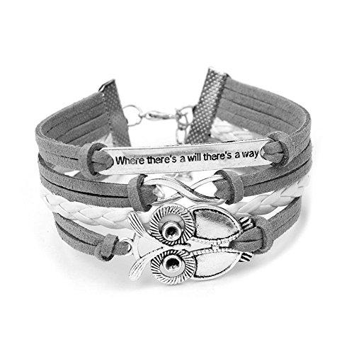 Infinity Christmas Owl Friendship Leather Charm Bracelet Gift including gift box Boolavard® TM
