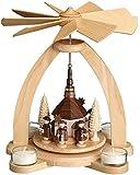 Original Erzgebirge Ore Mountains Pyramid Tealight Holder Decoration for Table - Seiffen Church