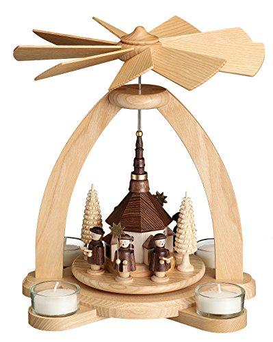 Tischpyramide - Teelichtpyramide mit Seiffener Kirche - Original Erzgebirge® #1810