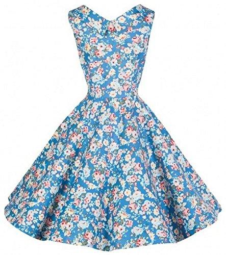 iLover Audrey Hepburn vintage 50s Floral robe de soirée cocktail, bal style années 50, Rockabilly, Swing Bleu