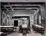 BHXINGMU Benutzerdefinierte Wandbilder 3D Retro-Schwarz-Weiß-Verfallene Fabrik Lager Große Ktv Bar Wanddekoration 50Cm(H)×90Cm(W)