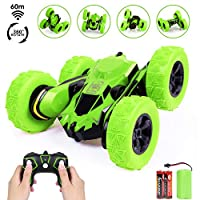 SGILE Toy Gift for 6-12 Years Old Kids - 360° Flip Remote Control Stunt Car Truck, 4WD 2.4Ghz High Speed Vehicle for Boys Girls, Green