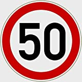 Sticker speed limit 50, red black, Ø 195 mm