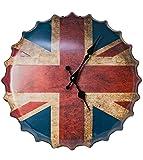Orologio da parete in metallo Union Jack GB Flag Bottle - Rosso - Bianco - Blu da Haysoms