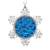 Redondo azul aguas piscinas patrones ondas de cerámica adorno de Navidad
