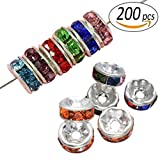 REKYO 200pcs Crystal Rondelle Entretoise perles pour bijoux faisant plaqué or et argent coloré 8mm bords ondulés et Straight edge