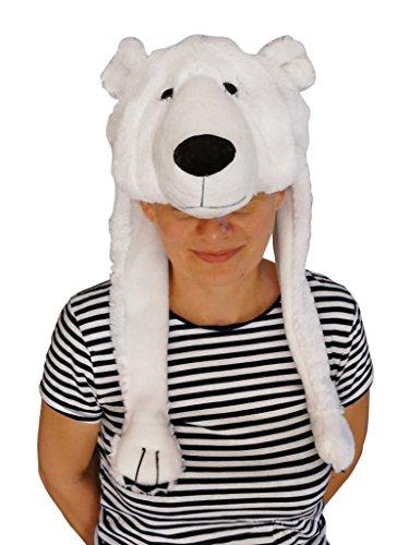 Eisbär-Mütze für Kostüm, F54/00, Eisbärmützen Eisbären Mützen, Zubehör für Eisbär-Faschingskostüm, Fasching Karneval, Faschings-Kostüme, Geburtstags-Geschenk Erwachsene