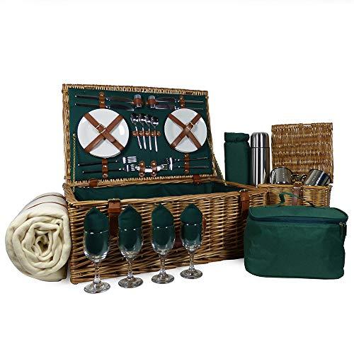 Luxuriöser Weiden Picknickkorb 'Regal' für 4 Personen mit Zubehör - Die Ideale Geschenkidee zum Geburtstag, Hochzeit, Ruhestand