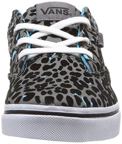 Vans Z Winston Low Mädchen Sneaker Grau - Gris (Flocked Cheetah Gray/Blue)