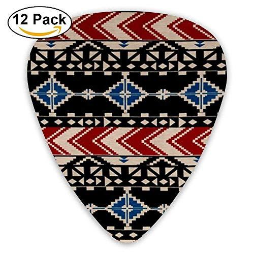 Aztec Chevron Diamond Jersey Knit Pattern Guitar Picks For Electric Guitar 12 Pack -