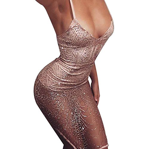 Hansee Women Sexy Dangling Chains Sleeveless V Neck Bodycon Sequins Club  Dress 9c84d4d3e
