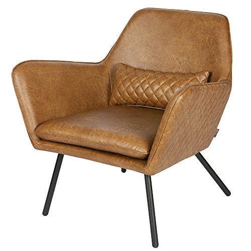 WOOOD Sessel im Retro Look mit Armlehnen Lederlook Cognac Bryan 378633-B