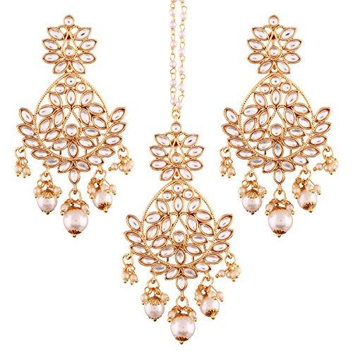 Ich Jewels vergoldet Kundan & Pearl Ohrring Set mit Maang Tikka für Frauen (te2494W) - Pearl-kleid