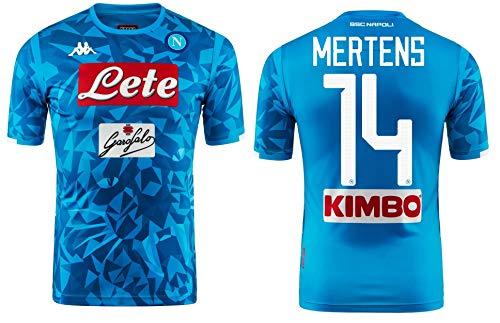 Kappa Italia Cocina de Madera Blanco Camiseta Mertens Oficial de 2018–19Kombat Extra, Azul Claro, X-Large